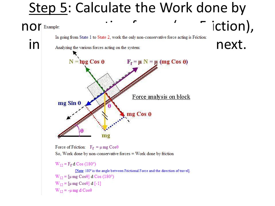 Step 5: Calculate the Work done by non-conservative forces (eg