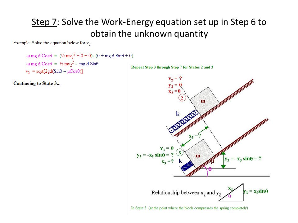 Step 7: Solve the Work-Energy equation set up in Step 6 to obtain the unknown quantity