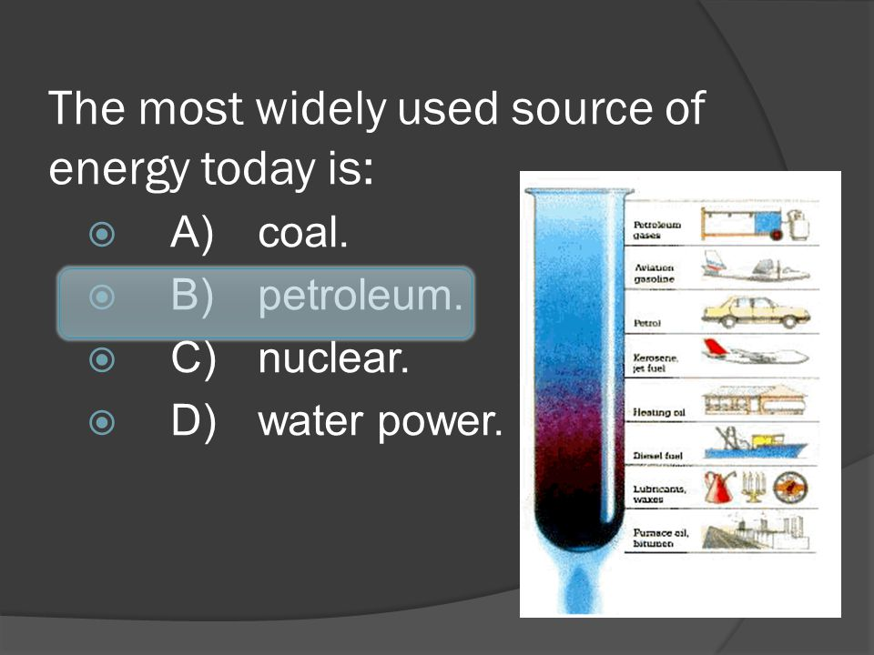 The most widely used source of energy today is: