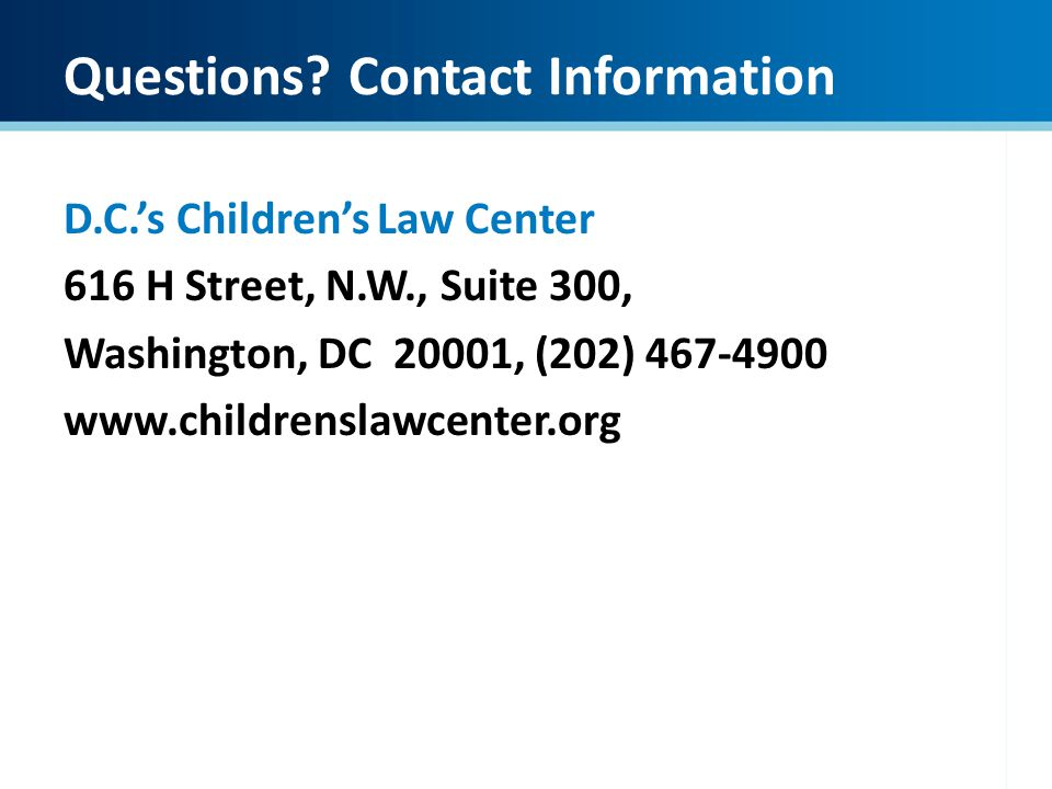 Questions Contact Information