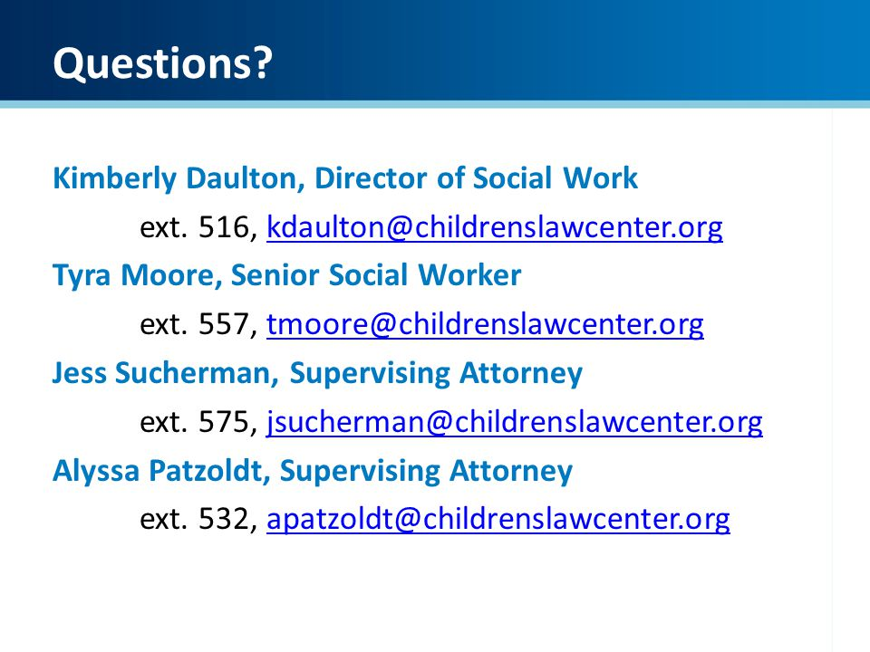 Questions Kimberly Daulton, Director of Social Work
