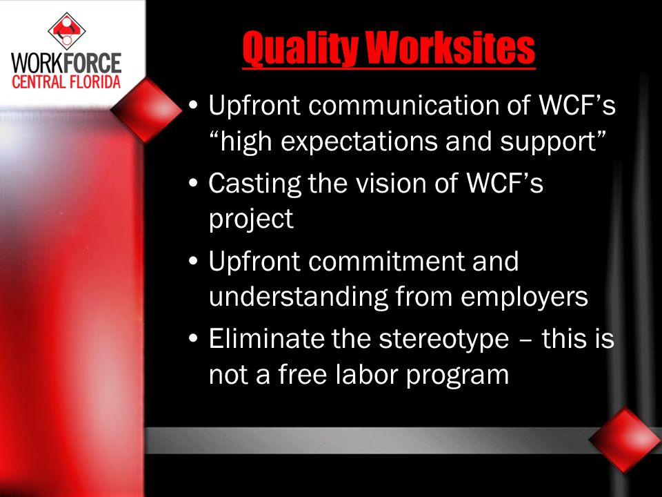 Quality Worksites Upfront communication of WCF's high expectations and support Casting the vision of WCF's project.