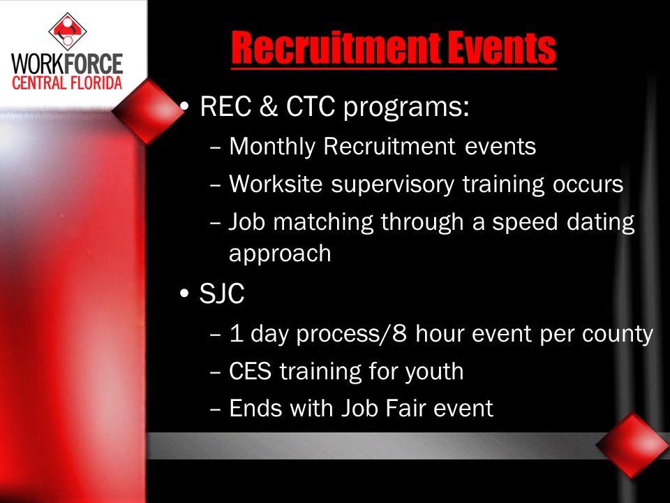 Recruitment Events REC & CTC programs: SJC Monthly Recruitment events