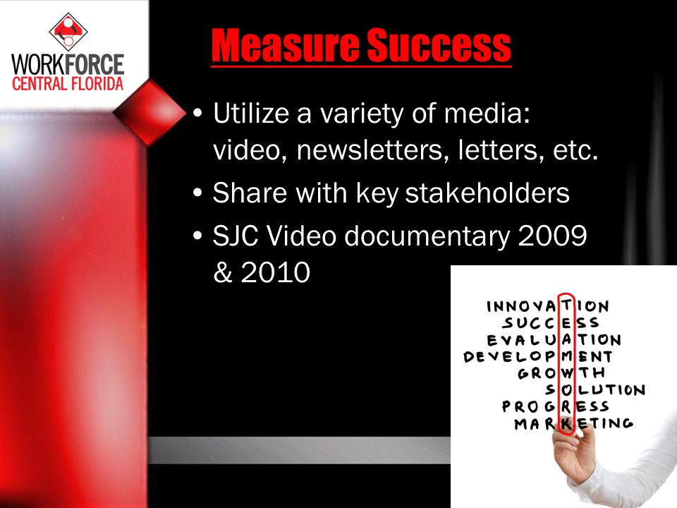 Measure Success Utilize a variety of media: video, newsletters, letters, etc. Share with key stakeholders.