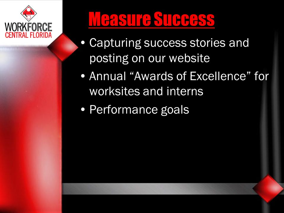 Measure Success Capturing success stories and posting on our website