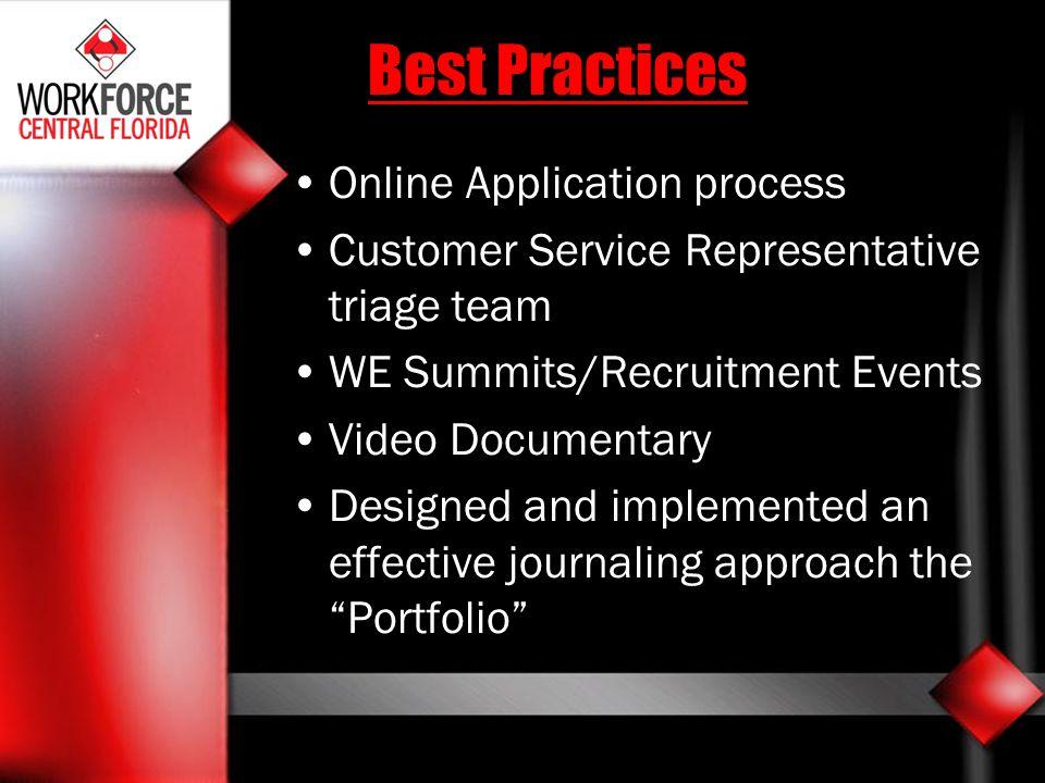 Best Practices Online Application process