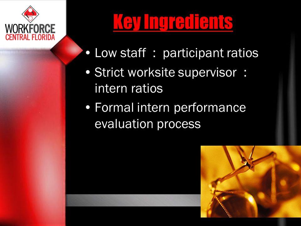 Key Ingredients Low staff : participant ratios