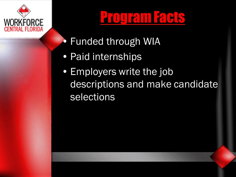 Program Facts Funded through WIA Paid internships
