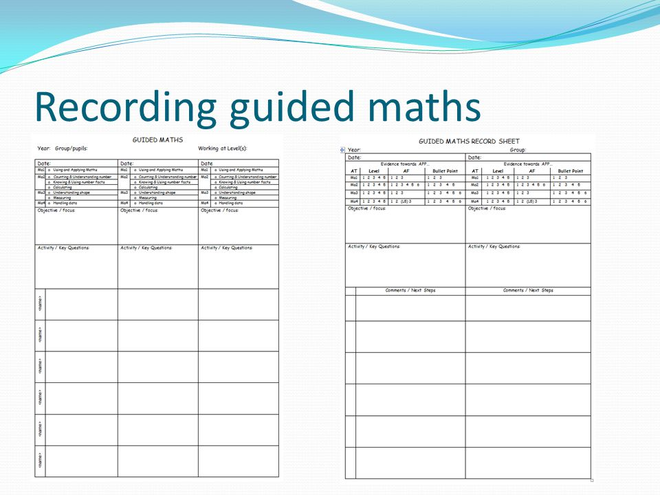 Recording guided maths