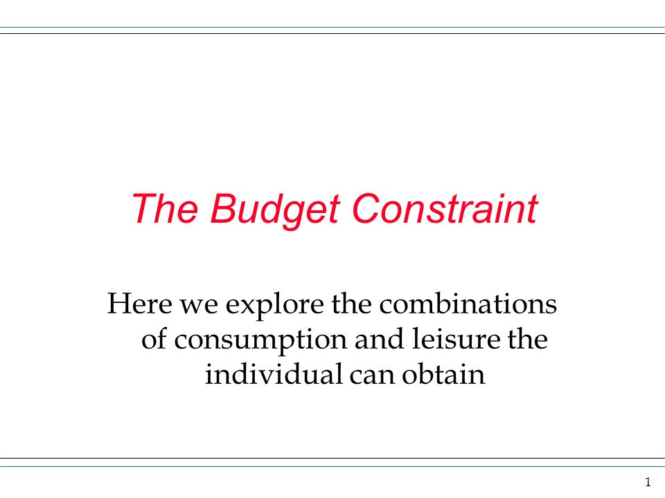 The Budget Constraint Here we explore the combinations of consumption and leisure the individual can obtain.