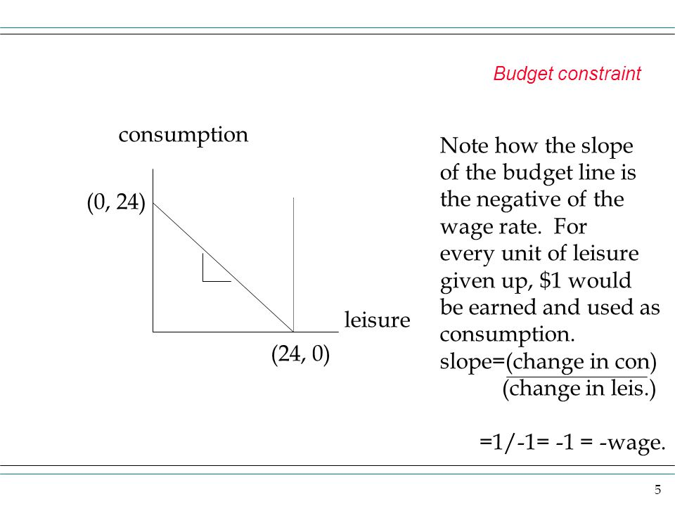 the negative of the wage rate. For every unit of leisure