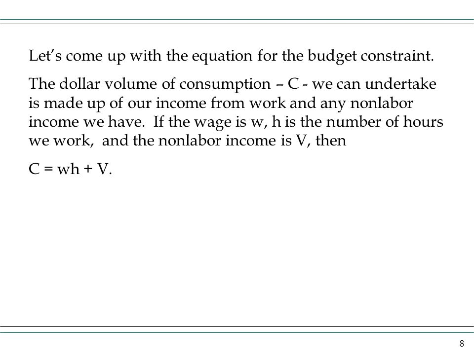 Let's come up with the equation for the budget constraint.