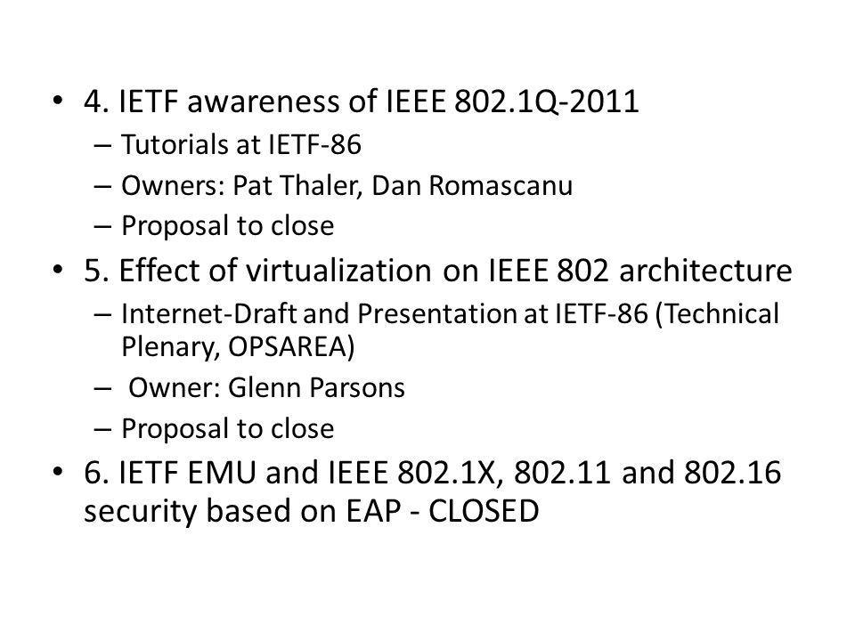 4. IETF awareness of IEEE 802.1Q-2011