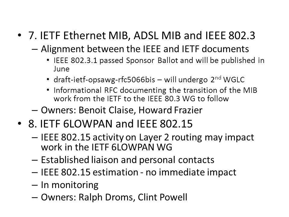 7. IETF Ethernet MIB, ADSL MIB and IEEE 802.3