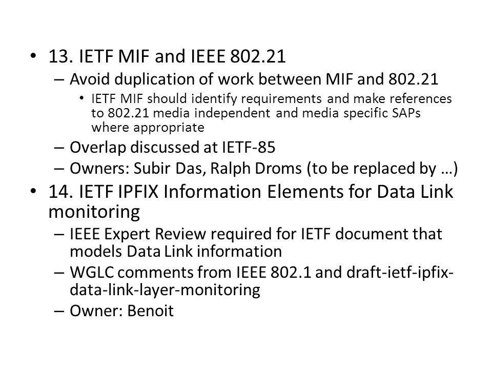 14. IETF IPFIX Information Elements for Data Link monitoring