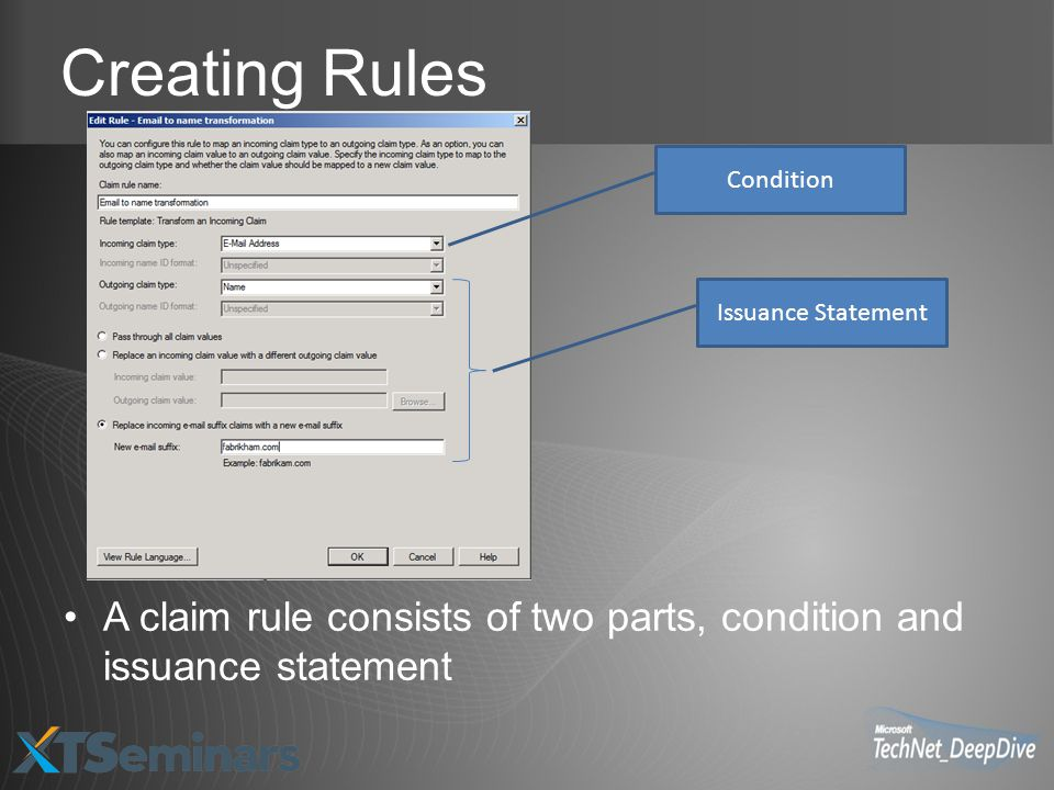 Creating Rules Condition. Issuance Statement.
