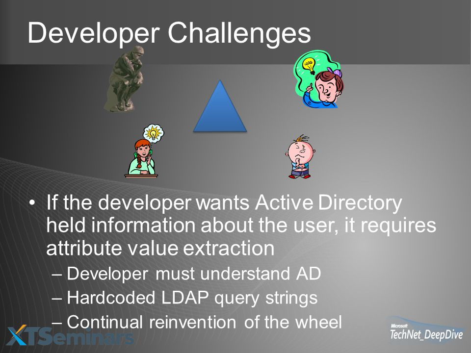 Developer Challenges If the developer wants Active Directory held information about the user, it requires attribute value extraction.