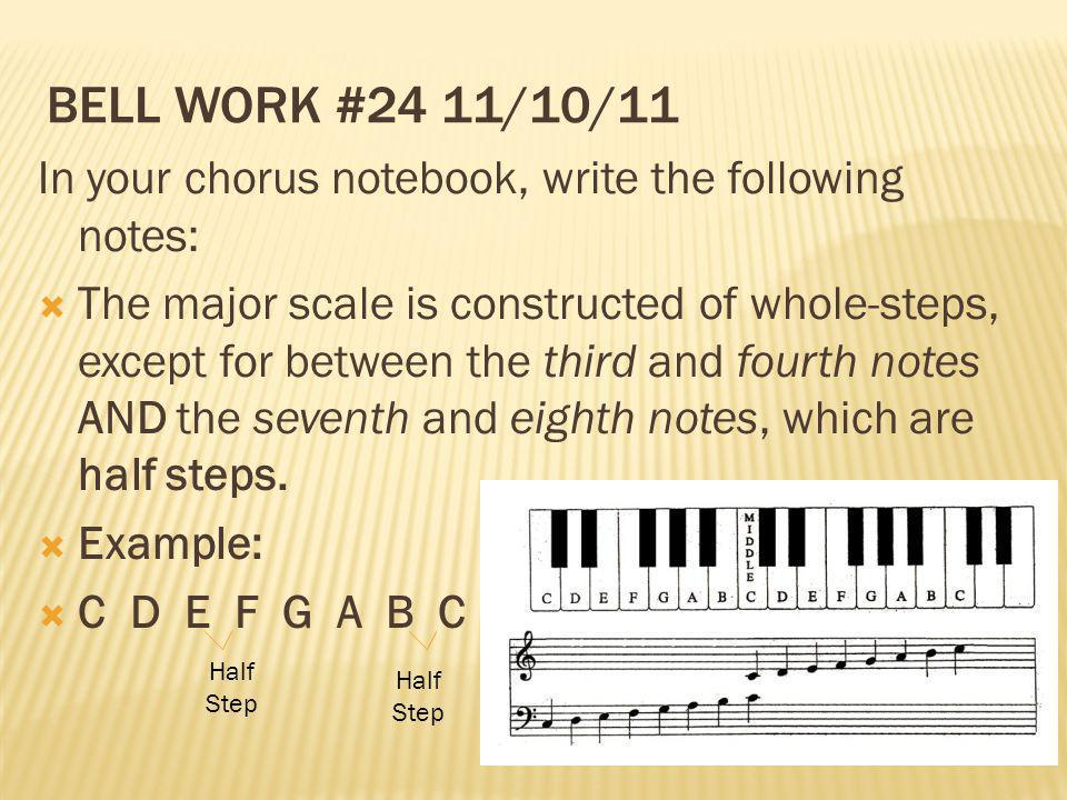 Bell Work #24 11/10/11 In your chorus notebook, write the following notes: