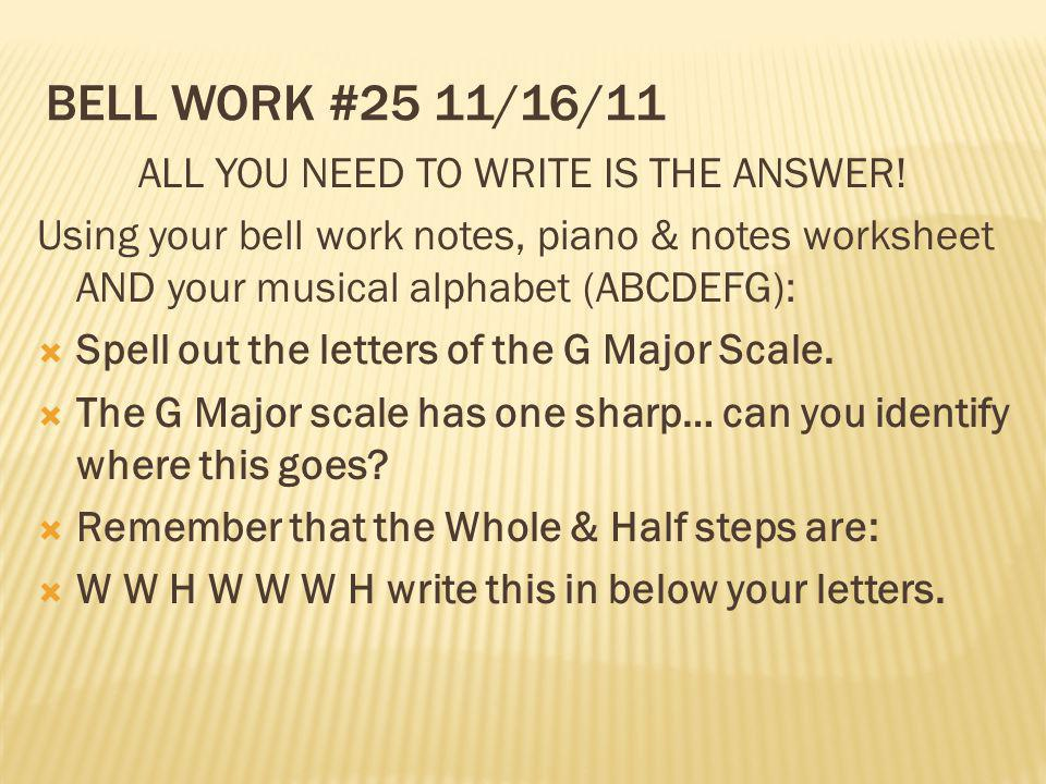 ALL YOU NEED TO WRITE IS THE ANSWER!
