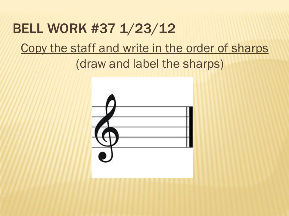 Bell Work #37 1/23/12 Copy the staff and write in the order of sharps (draw and label the sharps)