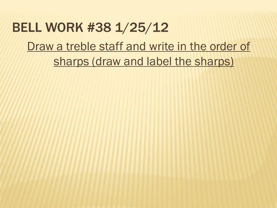 Bell Work #38 1/25/12 Draw a treble staff and write in the order of sharps (draw and label the sharps)