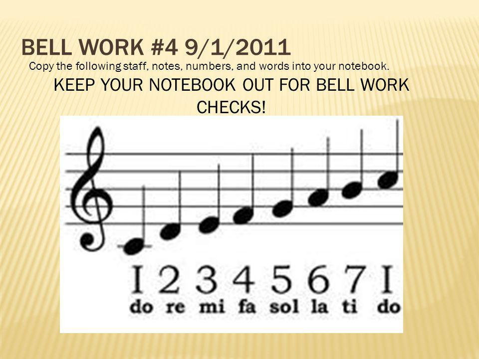 KEEP YOUR NOTEBOOK OUT FOR BELL WORK CHECKS!