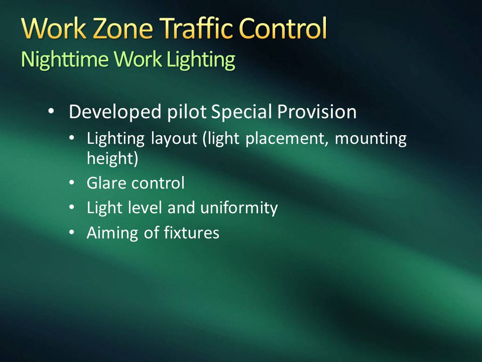 Work Zone Traffic Control Nighttime Work Lighting