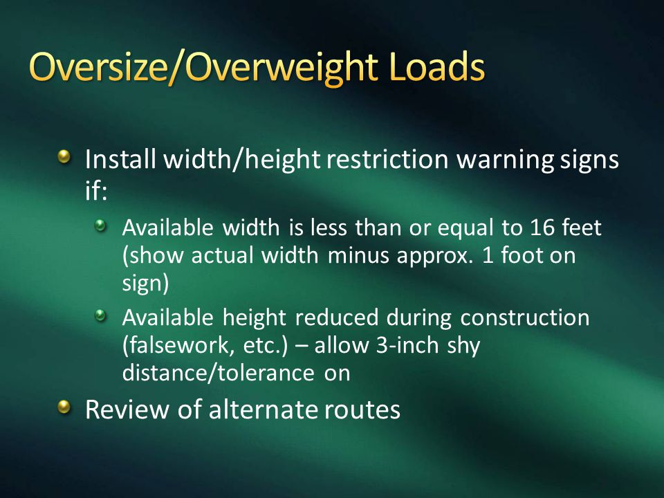 Oversize/Overweight Loads