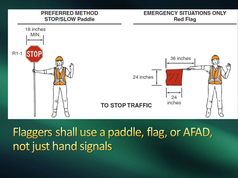 Flaggers shall use a paddle, flag, or AFAD, not just hand signals