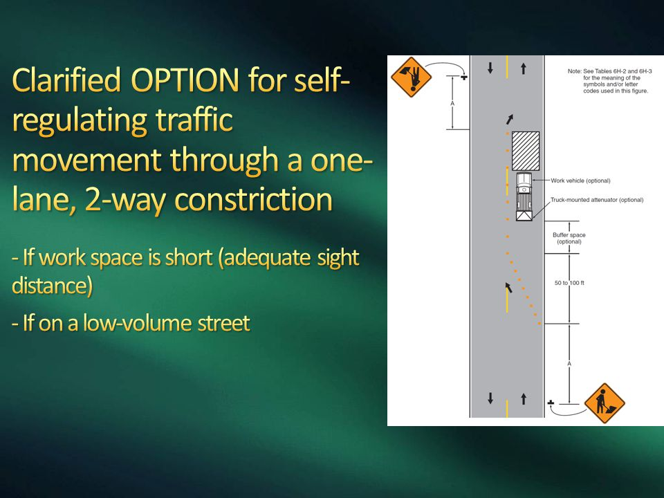 Clarified OPTION for self-regulating traffic movement through a one-lane, 2-way constriction - If work space is short (adequate sight distance) - If on a low-volume street