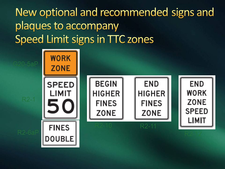 New optional and recommended signs and plaques to accompany Speed Limit signs in TTC zones
