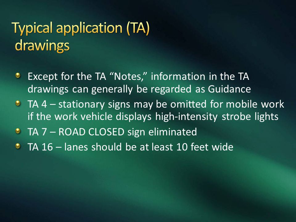 Typical application (TA) drawings