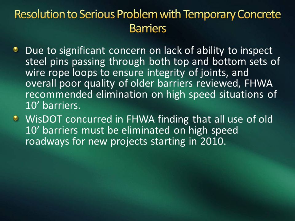 Resolution to Serious Problem with Temporary Concrete Barriers