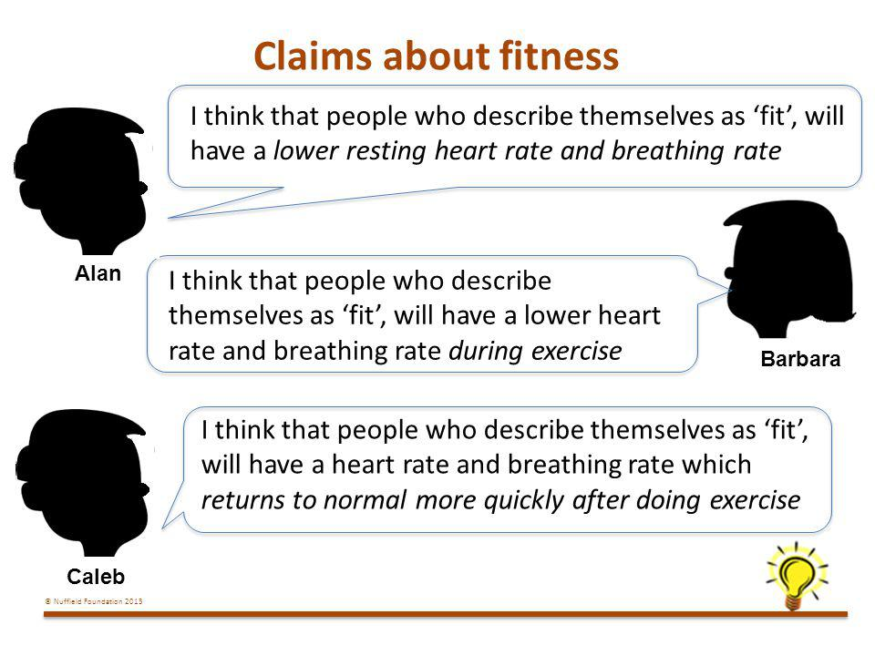 Claims about fitness I think that people who describe themselves as 'fit', will have a lower resting heart rate and breathing rate.