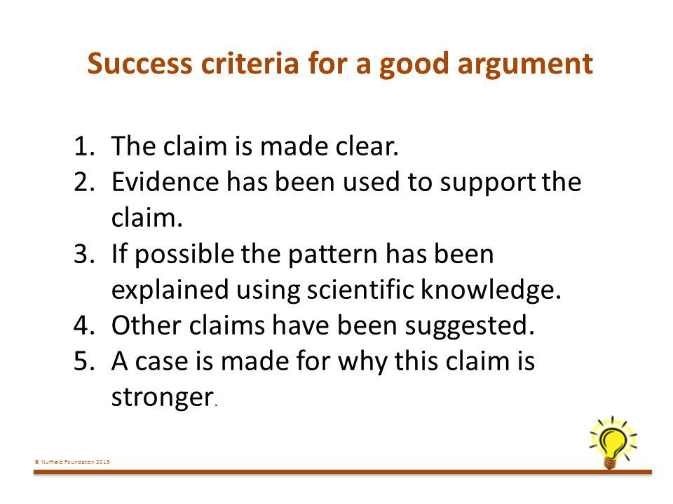 Success criteria for a good argument