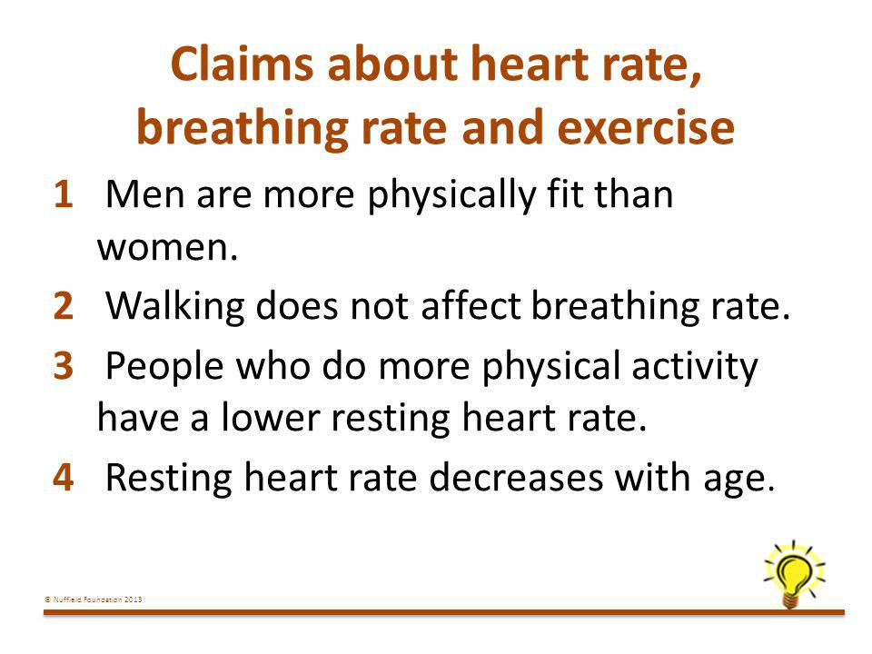 Claims about heart rate, breathing rate and exercise