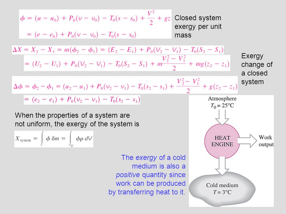 Closed system exergy per unit mass