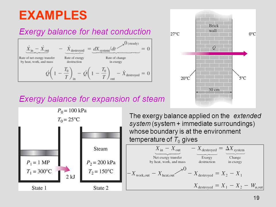 EXAMPLES Exergy balance for heat conduction