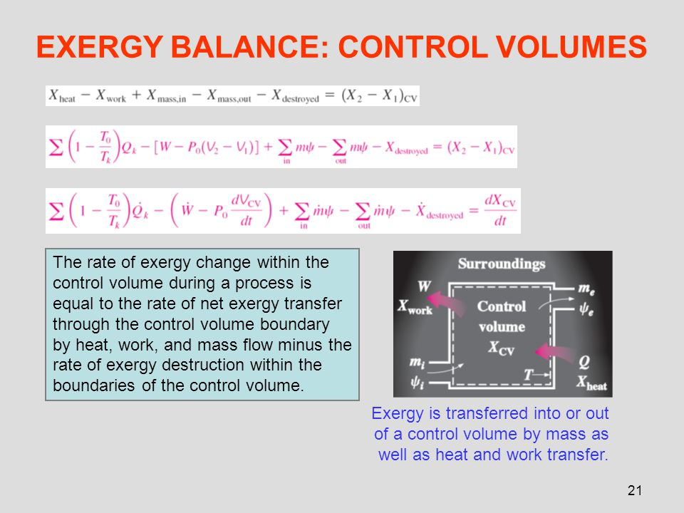 EXERGY BALANCE: CONTROL VOLUMES