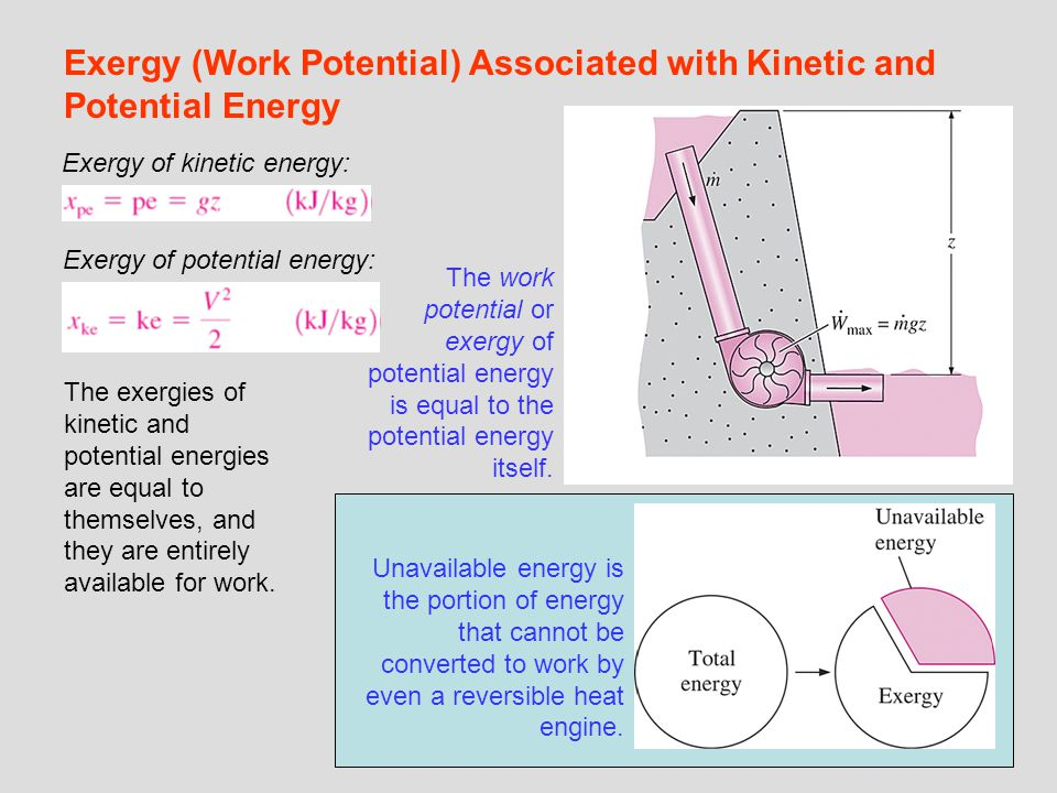 Exergy (Work Potential) Associated with Kinetic and Potential Energy