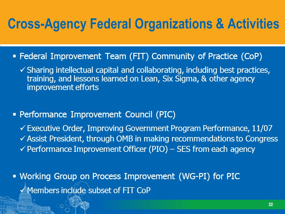Federal Improvement Team Agencies