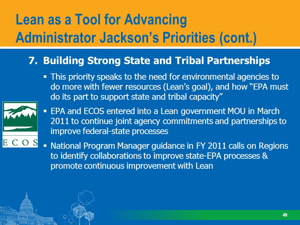 Lean as a Tool for Advancing Administrator Jackson's Priorities (cont