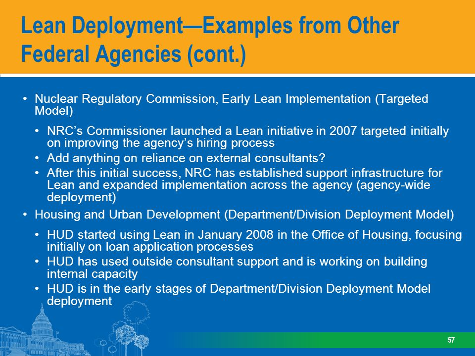 Lean Deployment—Examples from Other Federal Agencies (cont.)