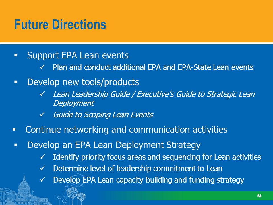 Future Directions What might a major EPA commitment to Lean look like