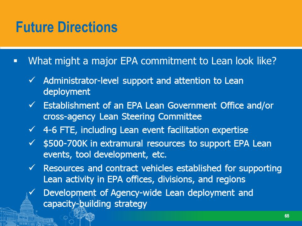 Future Directions Options for Supporting EPA Lean Activity: