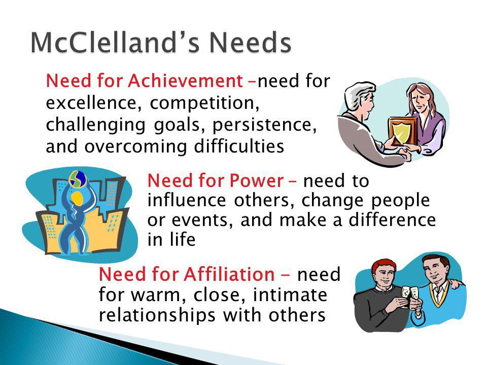 McClelland's Needs Need for Achievement –need for excellence, competition, challenging goals, persistence, and overcoming difficulties.
