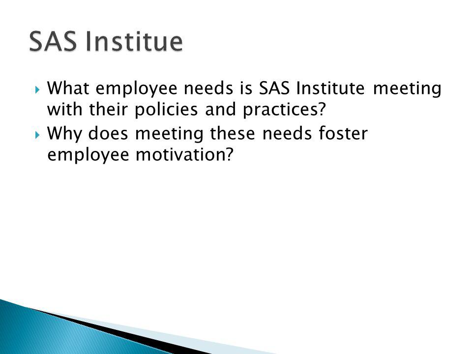 SAS Institue What employee needs is SAS Institute meeting with their policies and practices
