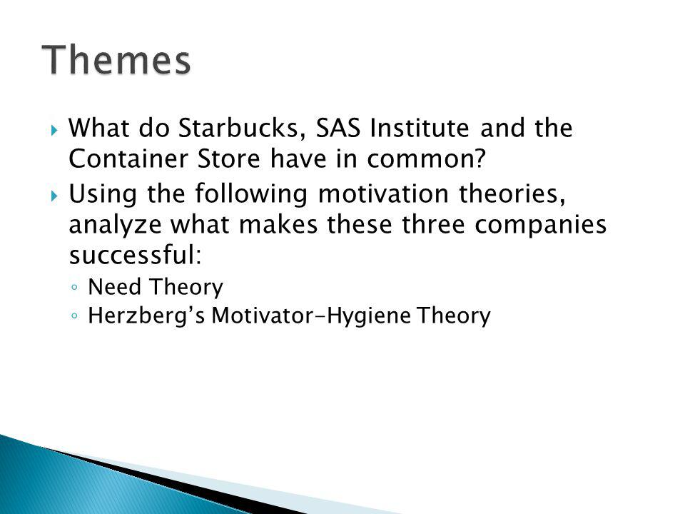 Themes What do Starbucks, SAS Institute and the Container Store have in common