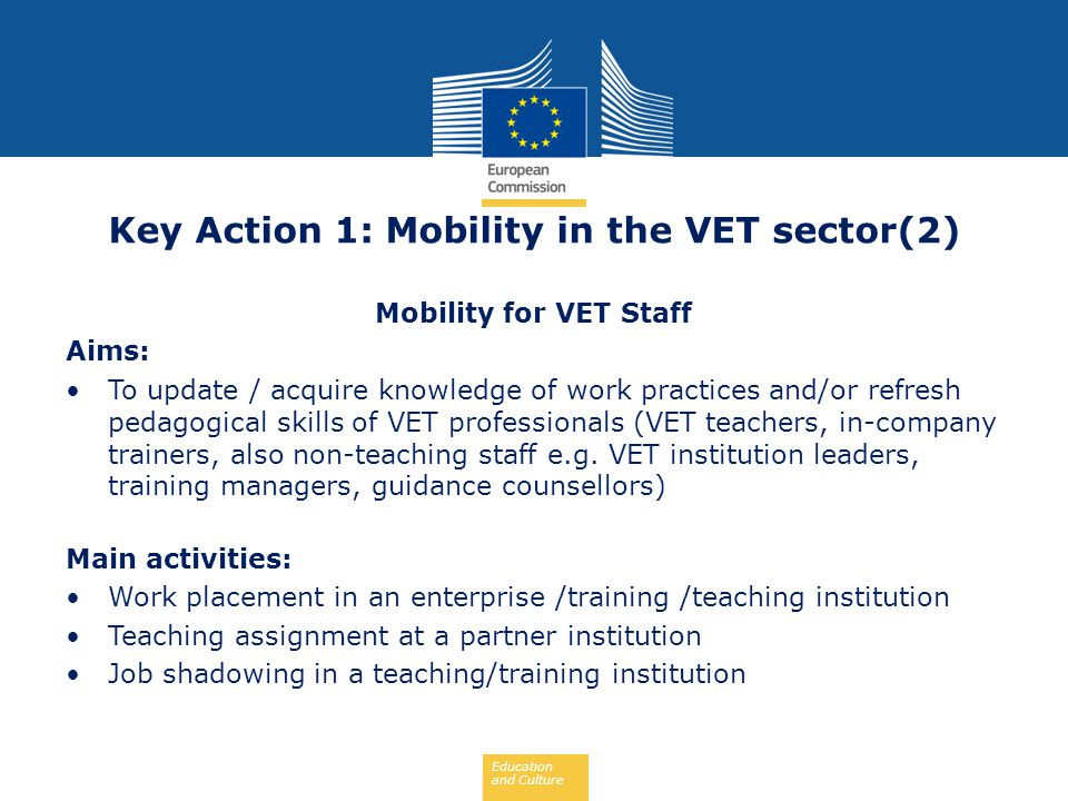 Key Action 1: Mobility in the VET sector(2)