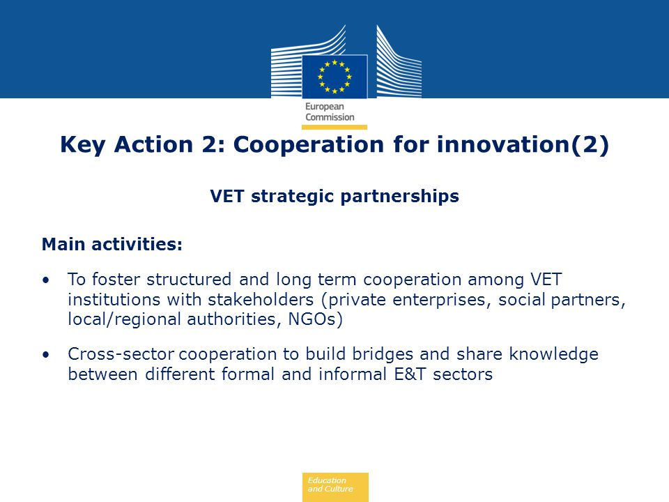 Key Action 2: Cooperation for innovation(2) VET strategic partnerships